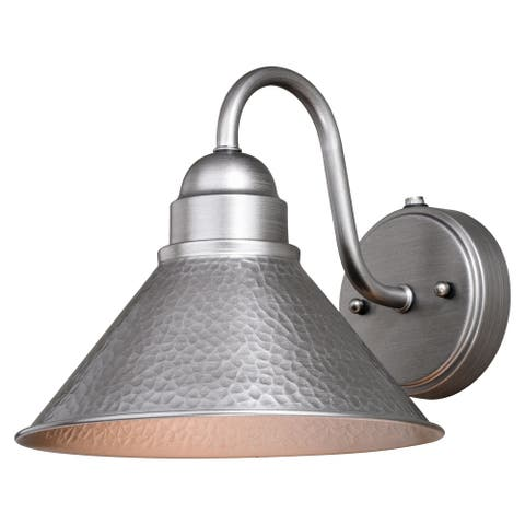 Outland 1 Light Dusk to Dawn Pewter Farmhouse Barn Dome Outdoor Wall Lantern - 10-in W x 9-in H x 11.75-in D