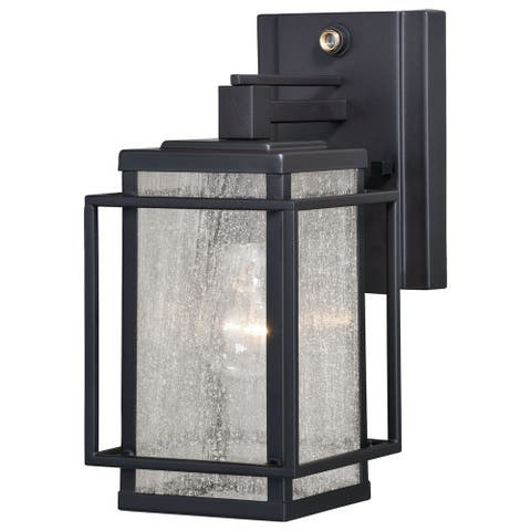 Hyde Park 1 Light Dusk to Dawn Bronze Mission Outdoor Wall Lantern Clear Glass - 5.25-in W x 11-in H x 8.75-in D