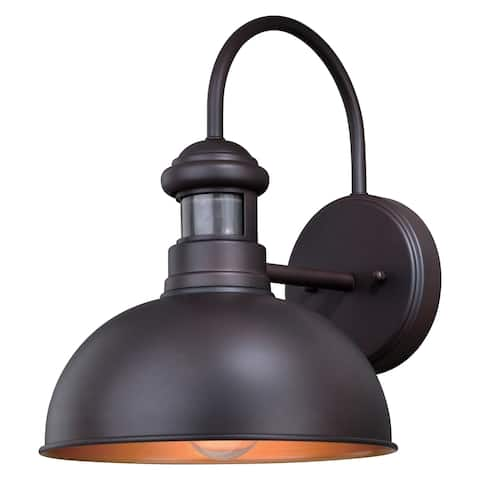 Franklin Bronze Motion Sensor Dusk to Dawn Farmhouse Barn Dark Sky Outdoor Wall Light - 10-in W x 13.75-in H x 12-in D