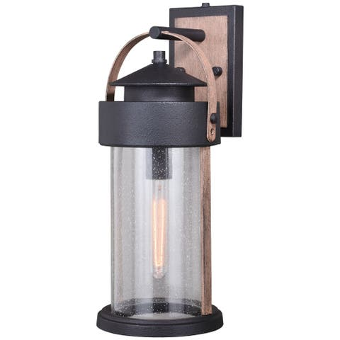 Cumberland 1 Light Dusk to Dawn Brown Wood Rustic Outdoor Wall Lantern Clear Glass - 8-in W x 19.75-in H x 9-in D