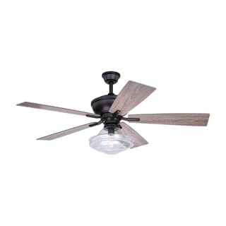 Huntley 52-in. Bronze Farmhouse Indoor Ceiling Fan with Schoolhouse LED Light Kit and Remote - 52-in W x 21.7-in H x 52-in D