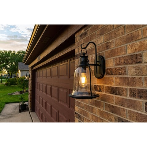 Hollis Bronze Motion Sensor Dusk to Dawn Outdoor Wall Light - 9.5-in W x 17.75-in H x 11-in D