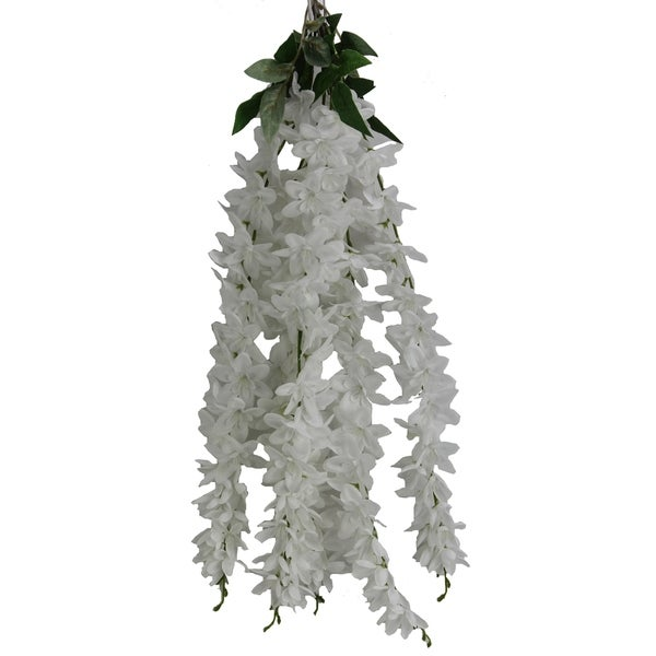 Artificial 5 stem wisteria long hanging bush Flowers. - WHITE
