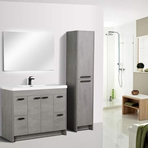 Eviva Lugano 42 inch Cement Gray Modern Bathroom Vanity with White Integrated Acrylic Top
