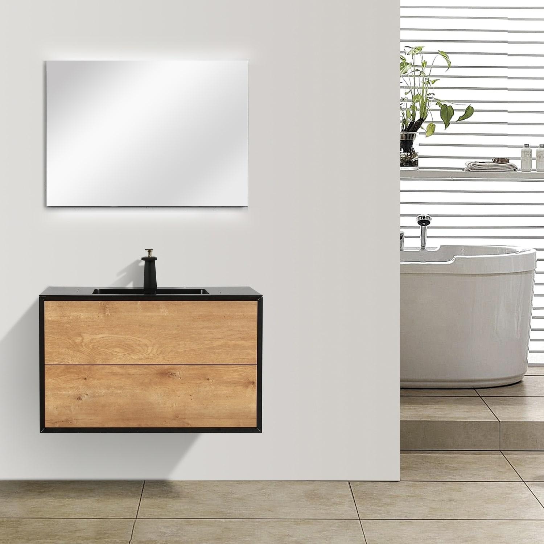 Oak Black Bathroom Vanity