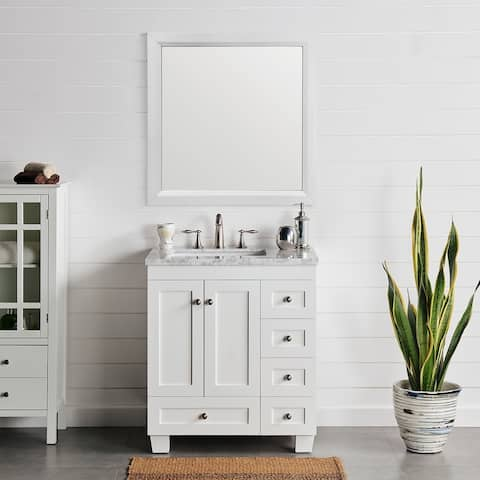 "Eviva Acclaim 28"" White Transitional Bathroom Vanity w/ White Carrara Top"