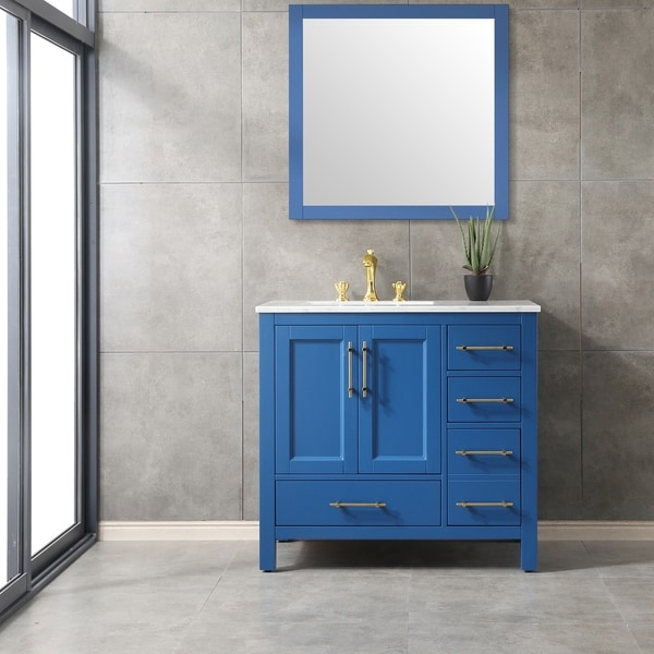 Shop Eviva Navy 36 Inch Deep Blue Vanity Free Shipping Today Overstock 28379833