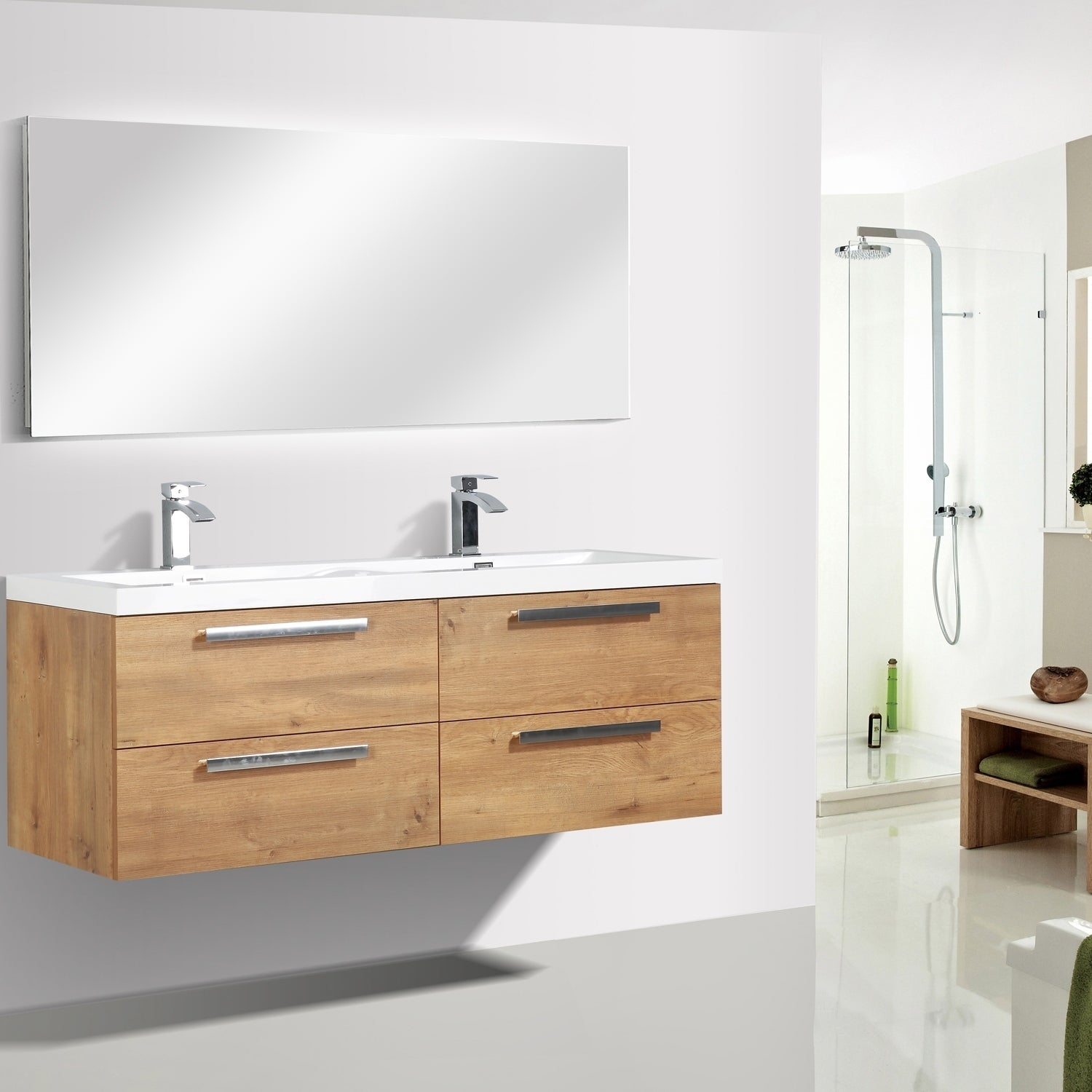 Eviva Surf 57 Natural Oak Bathroom Vanity Overstock 28379834
