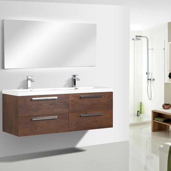 "Eviva Surf 57"" Rosewood Bathroom Vanity"