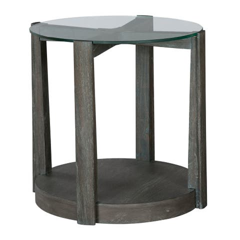 Round Solid Wood End Table - Edgewater