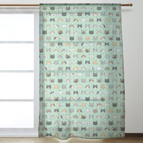 Kitty Cat Pattern Sheer Curtains - 53 x 84 - 53 x 84
