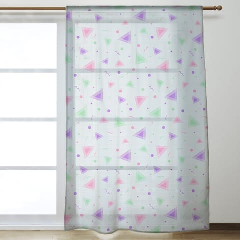 90's Retro Pattern Sheer Curtains - 53 x 84 - 53 x 84