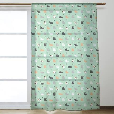 Cat Pattern Sheer Curtains - 53 x 84