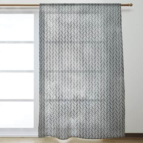 Herringbone Pattern Sheer Curtains - 53 x 84 - 53 x 84