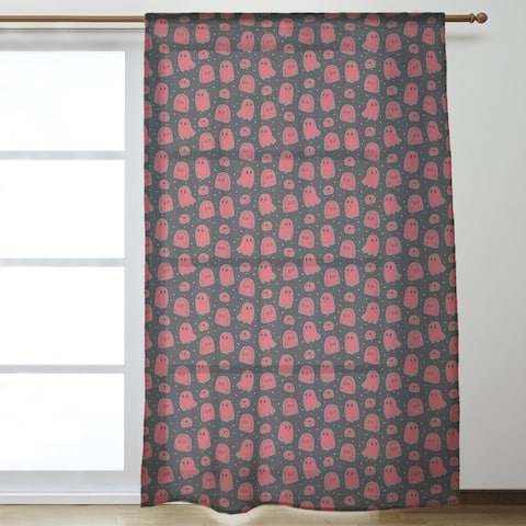 Black Background Ghosts Pattern Sheer Curtains - 53 x 84 - 53 x 84