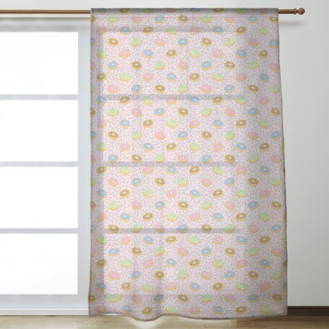 Donuts Pattern Sheer Curtains - 53 x 84
