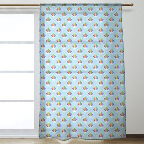 Argyle Rainbow Pattern Sheer Curtains - 53 x 84