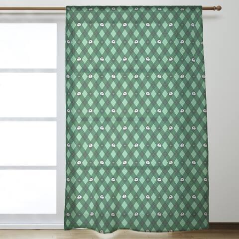 Argyle Skulls Pattern Sheer Curtains - 53 x 84 - 53 x 84