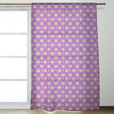 Shiba Inu Pattern Sheer Curtains - 53 x 84 - 53 x 84