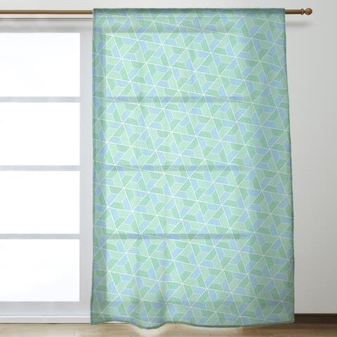Two Color Trapezoids Sheer Curtains - 53 x 84