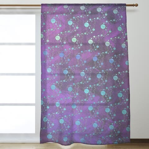 Multicolor Planets & Stars Sheer Curtains - 53 x 84 - 53 x 84