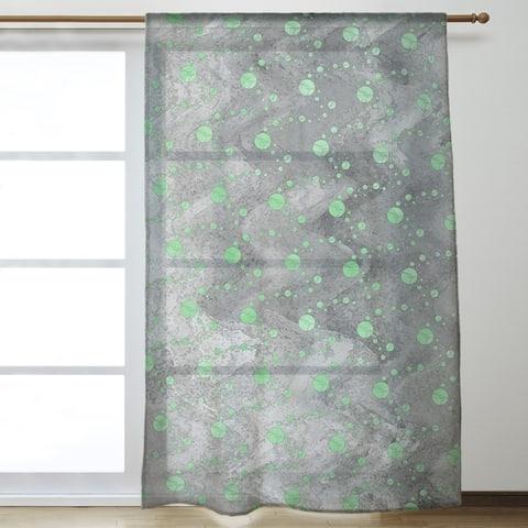 Monochrome Planets & Stars Sheer Curtains - 53 x 84 - 53 x 84