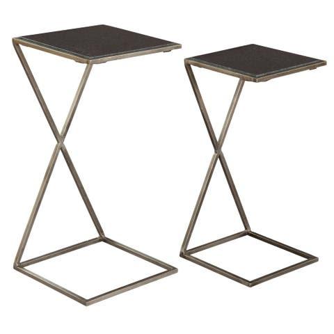 Square Cross Iron Nesting Table Set - Hekman