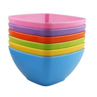 Melange 36-Piece 100% Melamine Square Bowl Set (Squares Solid )