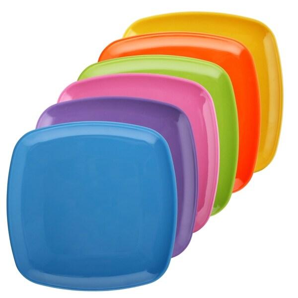 Melange 6-Piece 100% Melamine Square Salad Plate Set (Squares Solid )|Shatter-Proof and Chip-Resistant|Multicolor