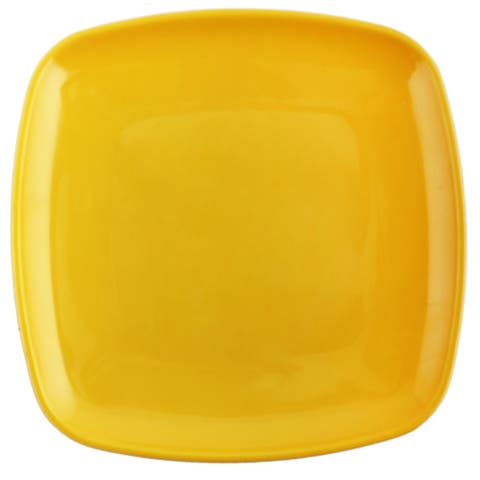 Melange 6-Piece 100% Melamine Square Salad Plate Set (Squares Solid ) Shatter-Proof and Chip-Resistant Yellow