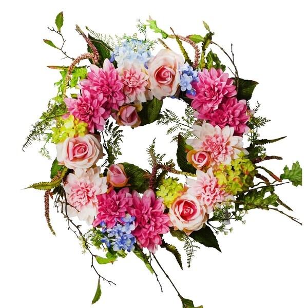 """24"""" Dahlia/Rose/Hydrangea Wreath"""