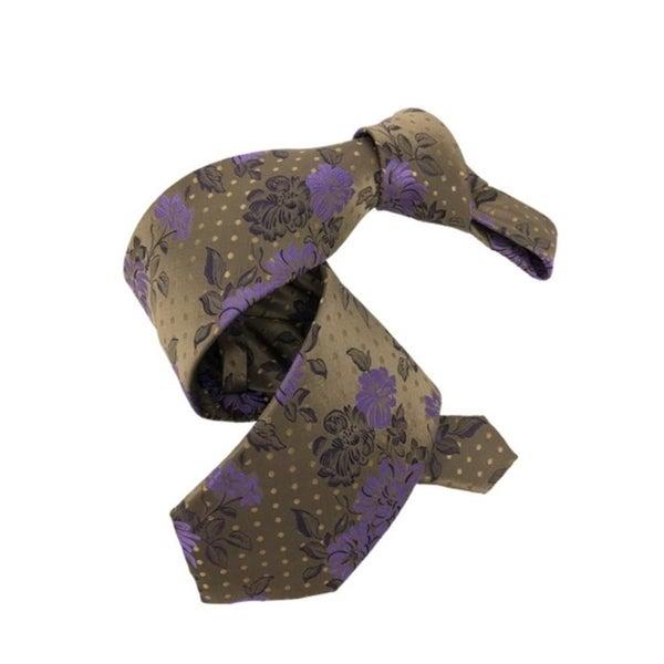 DMITRY 7-Fold Brown/Purple Floral Italian Silk Tie