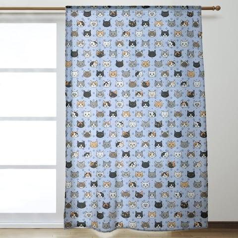 Kitty Cat Pattern Room Darkening Curtains - 53 x 84