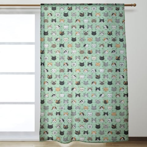 Kitty Cat Pattern Room Darkening Curtains - 53 x 84