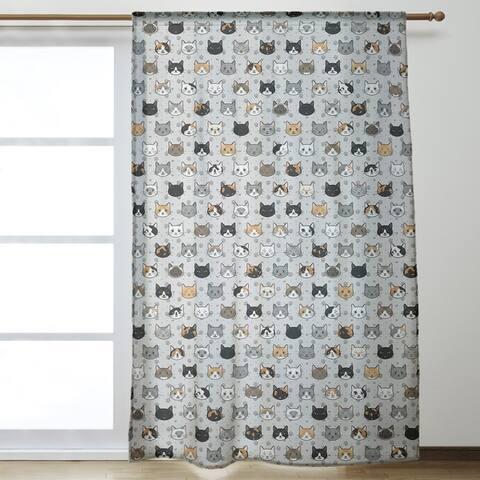 Kitty Cat Pattern Room Darkening Curtains - 53 x 84 - 53 x 84
