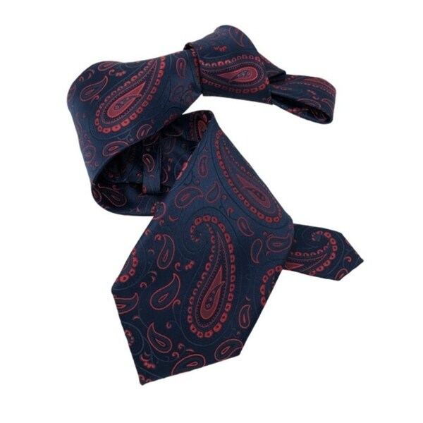 DMITRY 7-Fold Navy/Red Paisley Italian Silk Tie