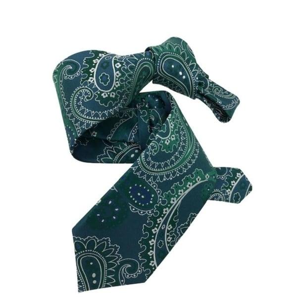 DMITRY 7-Fold Green Paisley Italian Silk Tie