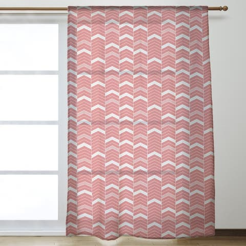 Single Color Lined Chevrons Sheer Curtains - 53 x 84 - 53 x 84