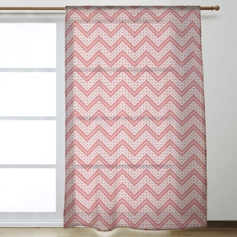 Classic Hand Drawn Chevron Pattern Sheer Curtains - 53 x 84 - 53 x 84