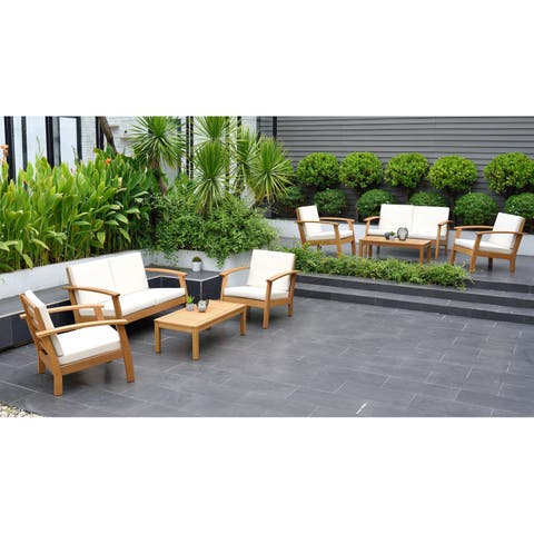 Grand Chelsea Patio Seating Set with Teak Finish and Cushions by Amazonia
