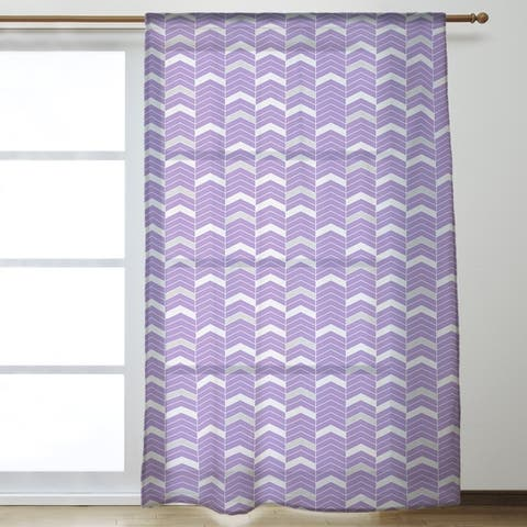 Two Color Lined Chevrons Sheer Curtains - 53 x 84 - 53 x 84
