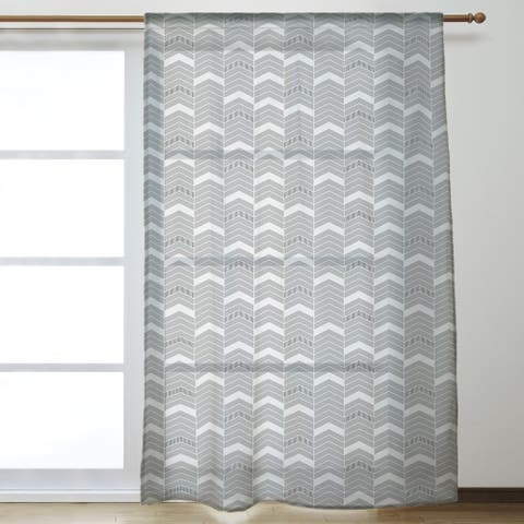 Color Accent Lined Chevrons Sheer Curtains - 53 x 84 - 53 x 84
