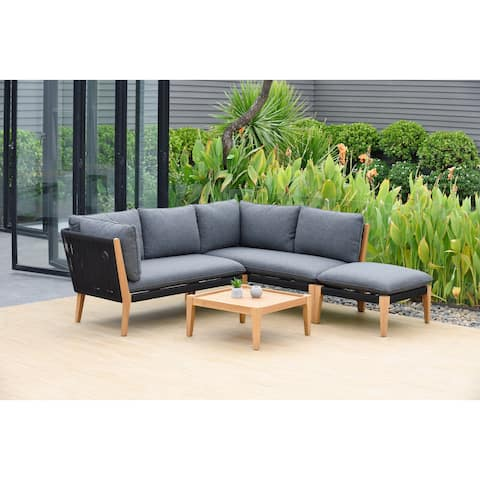 Lazio 4-Piece Patio Outdoor Sectional Set with Certified Teak Finish