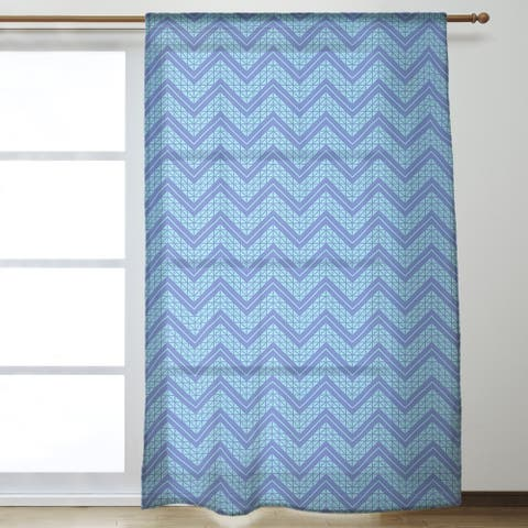 Two Color Hand Drawn Chevrons Sheer Curtains - 53 x 84