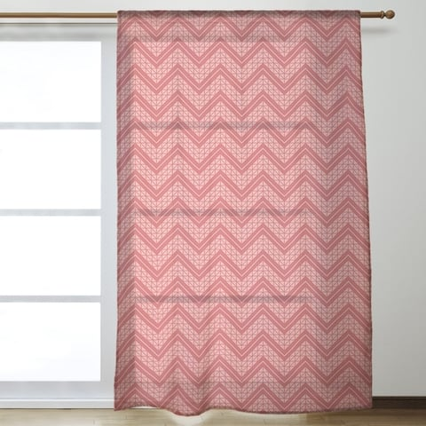 Monochromatic Hand Drawn Chevron Pattern Sheer Curtains - 53 x 84 - 53 x 84