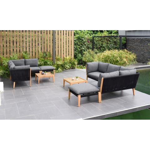 Lazio 8-Piece Patio Outdoor Sectional Set with Certified Teak Finish