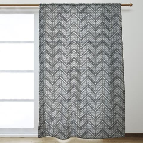 Gray Color Accent Hand Drawn Chevrons Sheer Curtains - 53 x 84 - 53 x 84