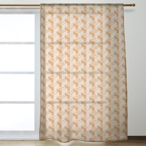 Classic Skyscrapers Pattern Sheer Curtains - 53 x 84