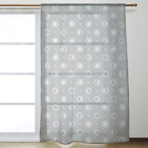 Classic Moon Phases Pattern Sheer Curtains - 53 x 84