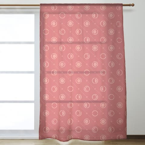 Monochrome Moon Phases Pattern Sheer Curtains - 53 x 84